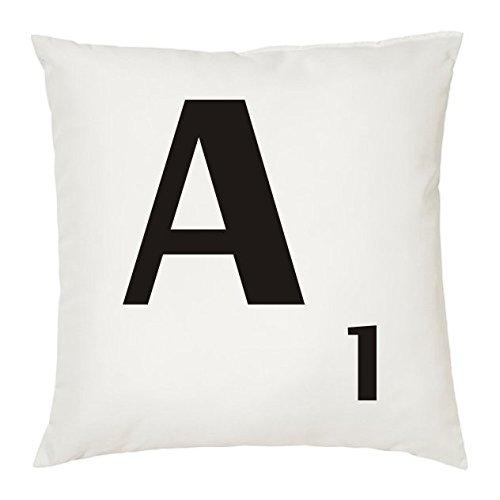 Cojines con la LETRA A imitación fichas de Scrabble o apalabrados. Medida 45X45 cm. Color blanco. Solo funda