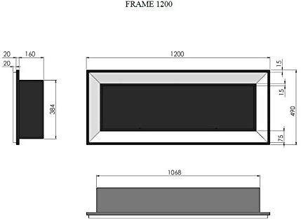 Camino a Bioetanolo Da Incasso a Parete Con Vetro Protettivo Incluso Telaio Nero Semi-Opaco In Acciaio Inox (120cm)