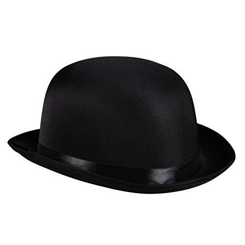 Satin-Melone Bowler Edler Herren-Hut viktorianisch 20er Jahre 30er Partyhut Spaßhut Kopfbedeckung Hochwertiges Kostüm-Zubehör Karneval Fasching Einheitsgröße Schwarz