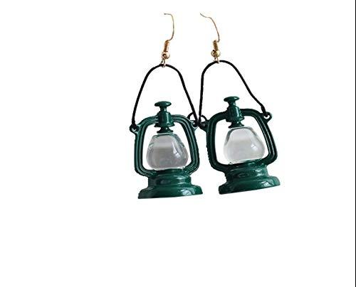 BJINUIY Ohrringe Legierung Grün Vintage Petroleumlampe Retro übertrieben Lange Ohrringe Ohrringe Kronleuchter Einzigartig