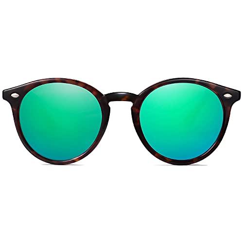 SOJOS Classici Occhiali da Sole Rotondi Polarizzati con Rivetti Lente a Specchio UV400 SJ2069 ALL ME con Tortoise Telaio/Verde Specchiata Lente con Rivetti