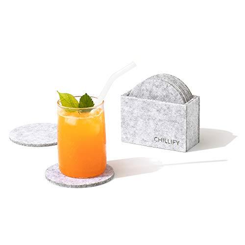 Chillify Filz-Untersetzer 8er Set für Getränke / Gläser mit Aufbewahrungs-Box - Rutschfester hitzebeständiger waschbarer Glasuntersetzer - Rund, Hellgrau, 10cm - absorbierend für Becher, Bier, Tisch, Bars