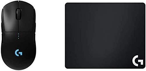 Logitech G PRO Kabellose Gaming-Maus mit Hero-Sensor (16'000 DPI, geringes Gewicht, PC-Gaming, 4 programmierbare Tasten, lange Akkulaufzeit) + Logitech G640 Mousepad