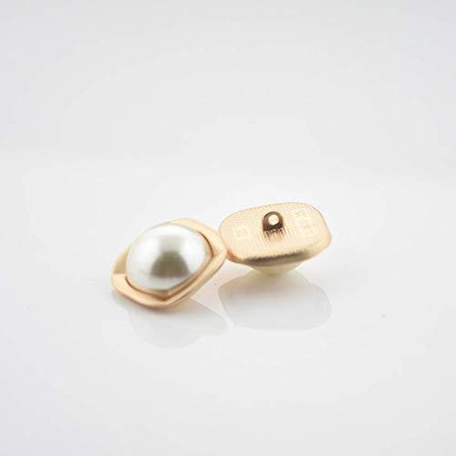 10 piezas de botones de perlas cuadrados salvajes pequeña fragancia camisa decorativa de la ropa de las mujeres con hebilla de la ropa de la chaqueta camisa de metal botón práctico diseño