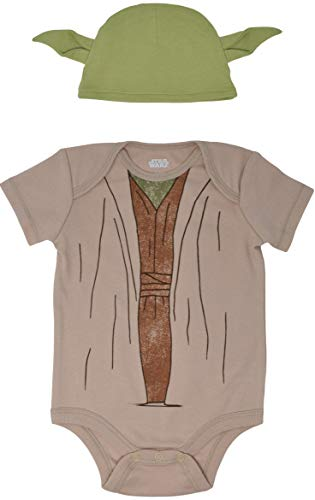 Star Wars Yoda Newborn Baby Boys Short Sleeve Costume Bodysuit & Cap Set 3-6 Months