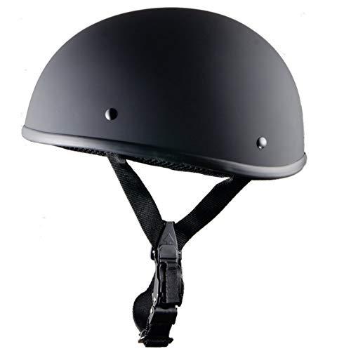 Forart Motorrad Halbhelm Cruiser Solid Flat Black Unisex Erwachsener Motorrad Halbhelm