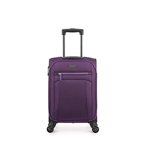 Antler Marcus Siro, Durable & Expandable Lightweight Soft Shell Suitcase - Colour: Purple, Size: Cabin