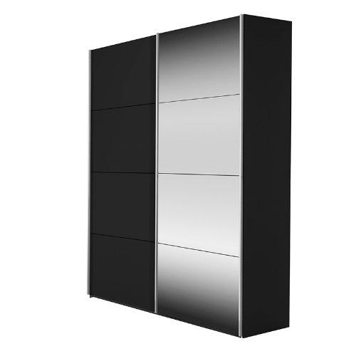Puerta corredera Kick color (estructura): negro, color (front): negro/cristal espejo, ancho: 202 cm (2-puertas): Amazon.es: Hogar