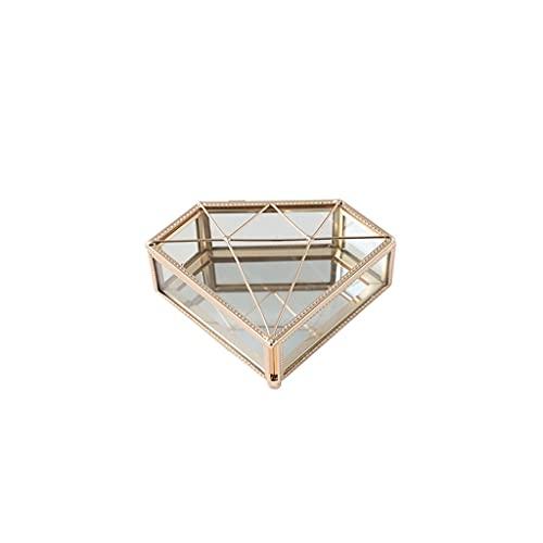 SMFN Caja de joyería Vintage de Cristal Joyas geométricas Mostrar Caja Organizador Caja Decorativa Hogar Caja para el Almacenamiento Tinket Anillo Pecado Pecho (Color : A)