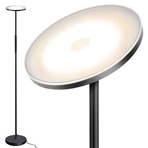Outon Lámpara de pie LED regulable de 30 W, moderna, lámpara de pie regulable sin niveles, con 3 temperaturas de color, mando a distancia y control táctil para salón, dormitorio, oficina, negro mate