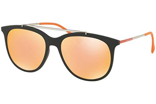 Prada SPS 02TS Zonnebril Zwart Rubber w/Oranje Spiegel Roze Lens 54mm DG0137 PS 02TS PS02TS SPS02T