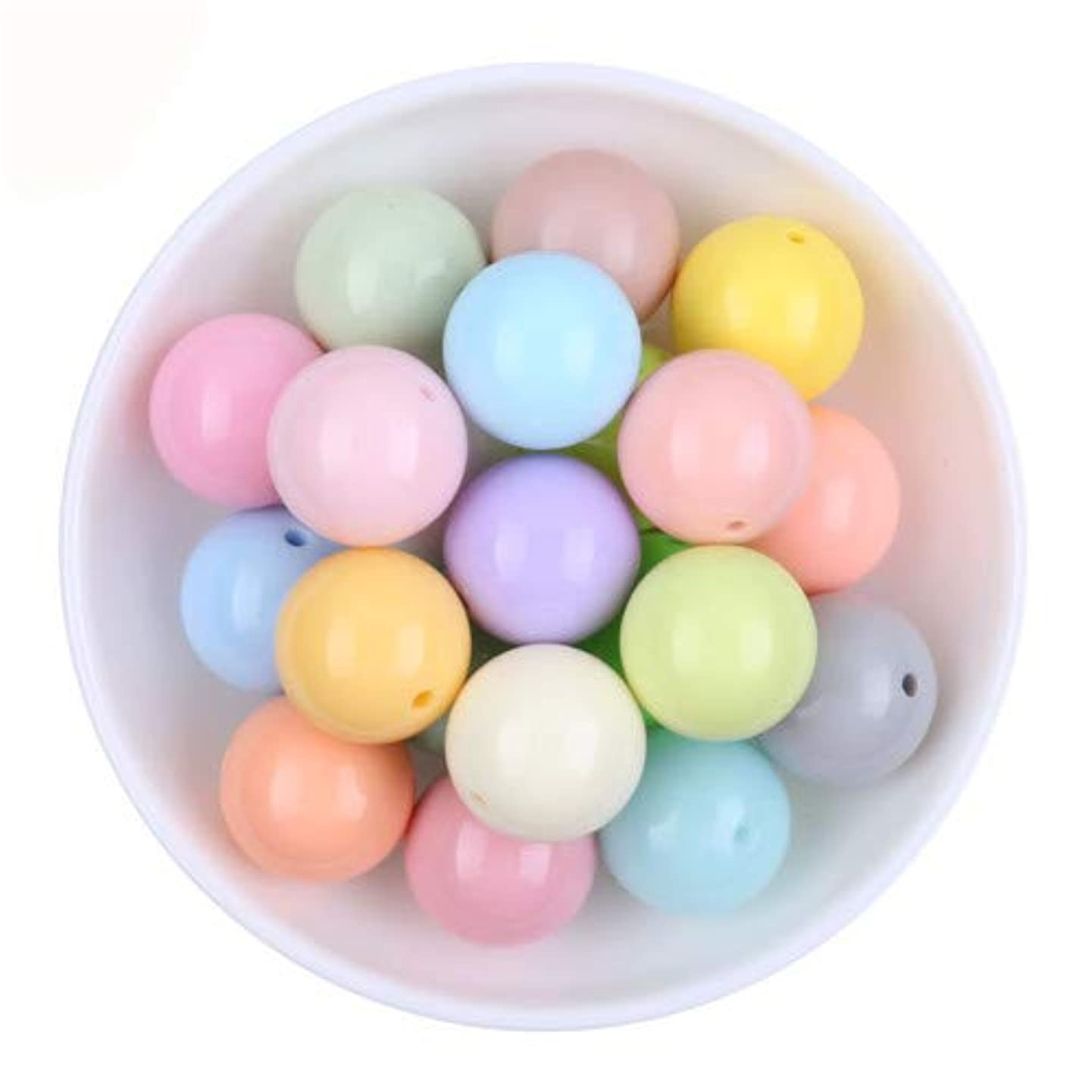 300PCs Mixed Color Big Chunky Gumball Bubblegum Acrylic Solid Beads Colorful Chunky Beads for Necklace Jewelry 6mm Making DIY Jewelry Findings DIY Gift