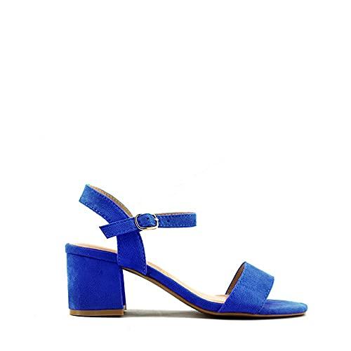 Modelisa - Sandalia Tacón Ancho para Mujer (Azul, Numeric_38)