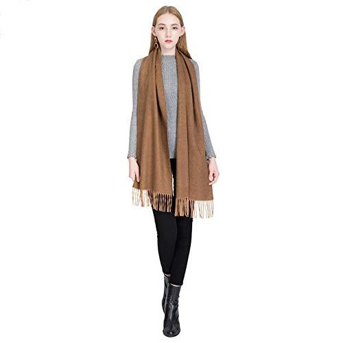 Mantón de Las Mujeres Versátil Otoño Invierno Calor Engrosamiento Estilo Europeo y Americano Moda Color sólido Bufanda Borla Elegante Collar (Color : C)