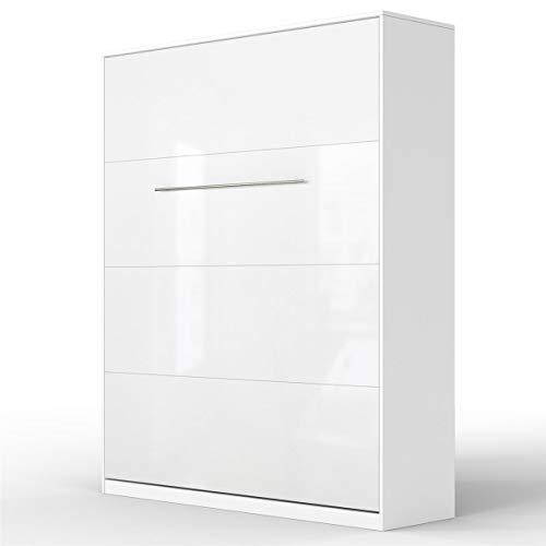 SMARTBett Standard 160x200 Vertikal Weiss/Weiss Hochglanzfront Komfort Lattenrost Schrankbett | ausklappbares Wandbett, Wandklappbett fürs Gästezimmer, Büro, Wohnzimmer