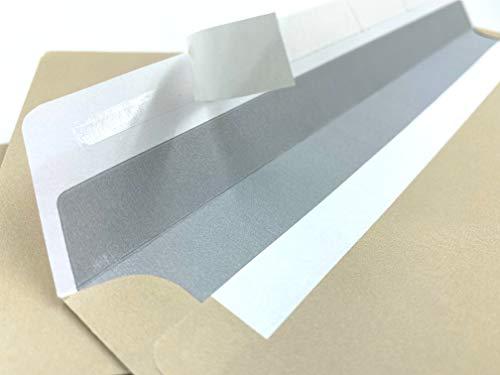 100 Briefumschläge, DIN lang = 220 x 110 mm, Geschäftsumschläge mit Abziehstreifen, Dunkles Chamois, Beige, Hellbraun, blickdichter grauer Innendruck