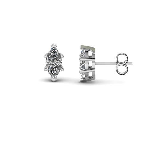 Pendientes de tuerca de 3 mm-8 mm, 6 puntas en forma de marquesa transparente, D/VVS1 con diamante solitario chapado en oro blanco de 14 quilates, plata 925