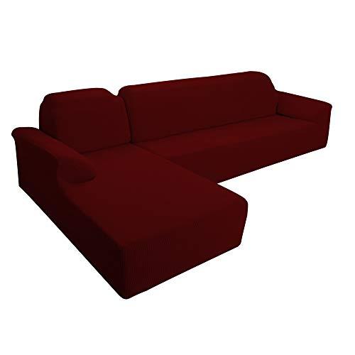E EBETA Ecksofahusse Sofabezug, Sofaüberwürfe für L-Form Elastische Stretch 2er Set für 2 Sitzer + 2 Sitzer Ecksofa Links (Weinrot)