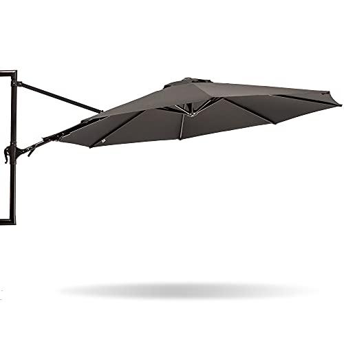 MaxxGarden, Ombrellone da giardino sospeso, a parete, diametro 270 cm, in alluminio, colore nero