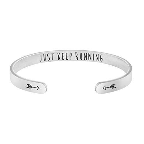 Gift for Runner Marathon Athlete Strength Jewelry Just Keep Running Bracelet