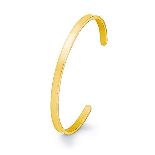 s.Oliver Damen-Armreif Edelstahl IP Gold Beschichtung schlicht basic gravurfähig