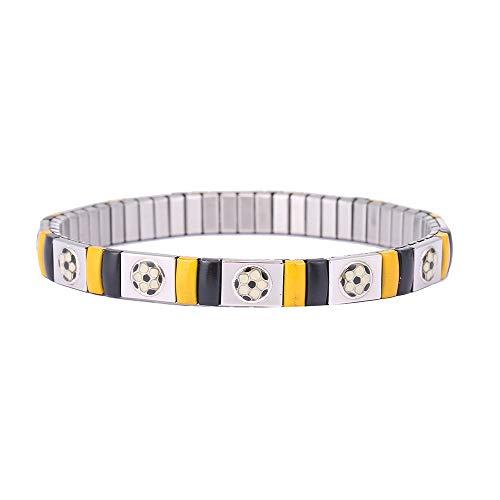 AKKi jewelry Partner Fan Armband Fussball Zugband, Fanarmband Edelstahl Band Partnerschmuck Mitgebsel Giveaway Mitbringsel Kinder Liga Fußball Dortmund