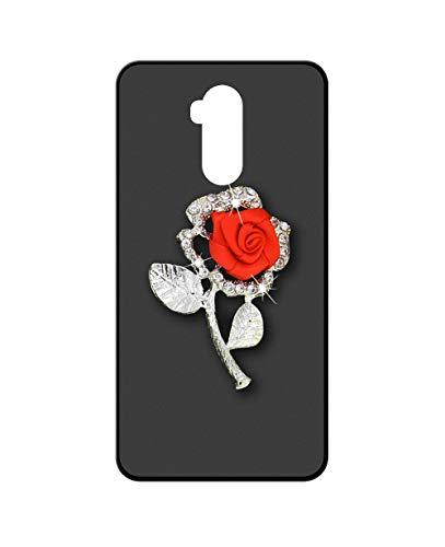 Sunrive Kompatibel mit Ulefone Power 3L Hülle Silikon,Glitzer Diamant Strass Handyhülle matt Schutzhülle Etui 3D Hülle Backcover (Rote Rose) MEHRWEG+Gratis Universal Eingabestift