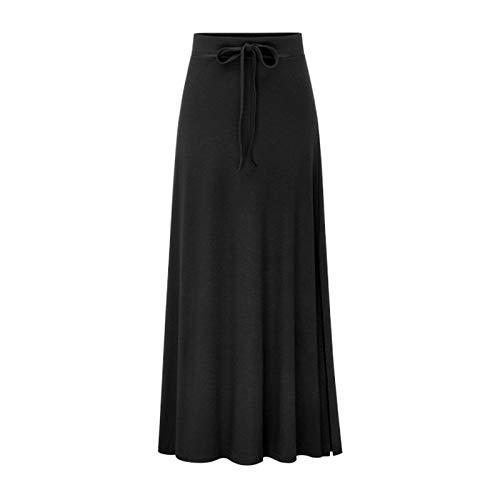 WSLCN Damen Rock Einfarbig Bleistiftrock Maxi Rock Strickrock Seite Schlitz High Slit Skirt Große Größe Schwarz (Asie M) Für 45-52.5kg