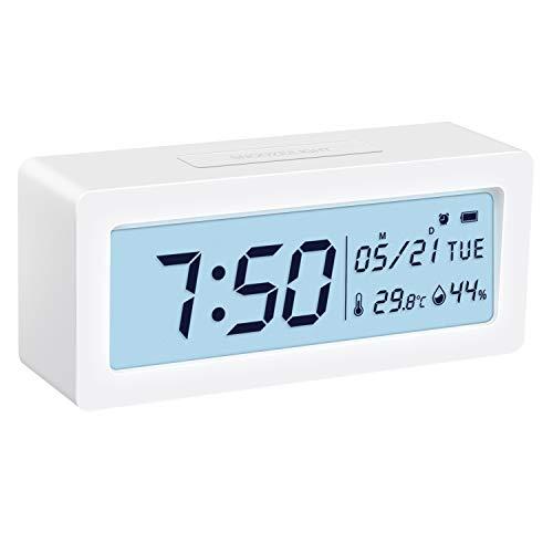 ORIA Digital Wecker, Alarm Clock Digitale Tischuhr mit Thermo-Hygrometer, große LCD-Ziffern Hintergrundbeleuchtung mit Snooze, Batteriebetriebene Uhr für Schlafzimmer, Nachttisch, Schreibtisch, Weiß