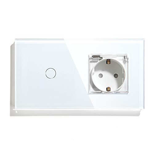BSEED Interruptor con Enchufe,1 Gang 1 Vía interruptor tactil +16A 250V enchufe pared con cubierta,Interruptor Táctil de Luz pared con panel de vidrio templado,Impermeable toma de corriente Blanco