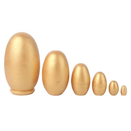 NUOBESTY 6Pcs Ei Form Matroschka Puppe DIY Holz Gold Ei Russische Nesting Puppen Dekorative Stapelknebel Spielzeug für Kinder Geschenk Weihnachten Heimtextilien (Golden)