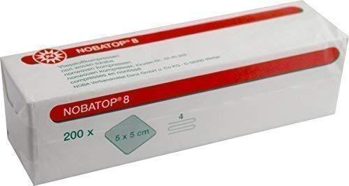 NOBATOP 8 Vliesstoffkompressen 200 Stück Kompressen 4-fach (5,0 x 5,0 cm)