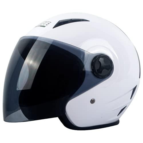 LDJ Casco de moto tipo jet para hombre y mujer, ligero, para todas las estaciones, con parasol, color blanco, S