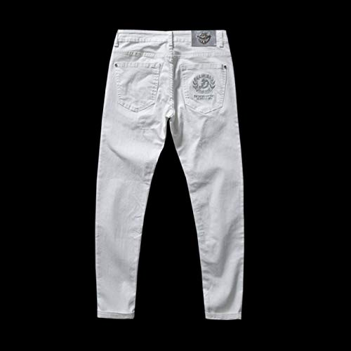 Vaqueros para Jeans Pantalones Verano Nuevos Pantalones Vaqueros Blancos Finos Bordados para Hombre, Pantalones De Mezclilla Elásticos Avanzados Informales A La Moda, Pantalones De