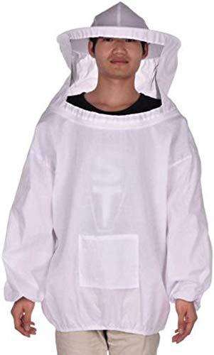 Coollooda Premium Beekeeper überziehmantel-Outfit mit schützendem Schleier SmockHood für Anfänger und gewerbliche Imker Freie Größe Beekeeping Jacket White