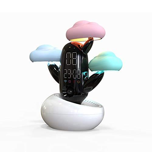 YXZN Cloud Time Light Alarm Clock Temperatur Smart Clock Live Voice Reminder Wetter Induktion Nachtbeleuchten,White,193X180X88MM