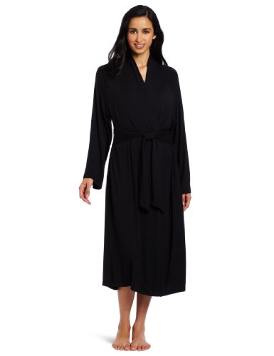 Casual Moments Women's 48-Inch Shawl Collar Wrap Robe , Black, Small