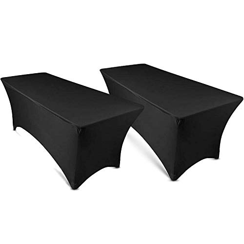 Heritan Mantel rectangular de lino de licra de 1,5 m, color negro, para mesa plegable de 6 pies (paquete de 2)