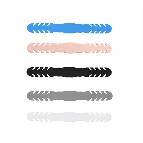 Rpanle 5 Stück Ohrhaken für elastische Schnur,Ohrhaken Silikon, verstellbar Komfortabel Anti-Festziehen Anti-Rutsch-Halter Haken 5 Stück / 5 Farben