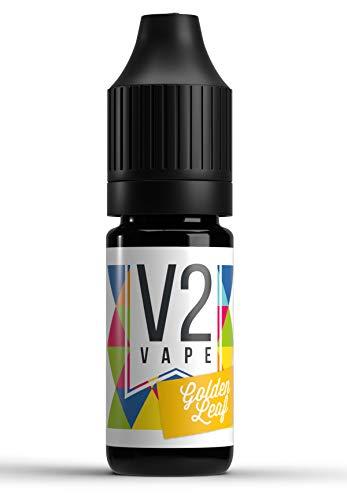 V2 Vape Golden-Leaf-Tabak AROMA / KONZENTRAT hochdosiertes Premium Lebensmittel-Aroma zum selber mischen von E-Liquid / Liquid-Base für E-Zigarette und E-Shisha 10ml 0mg nikotinfrei