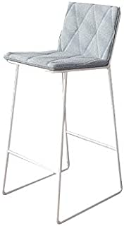 Modern Bar Stools Grey Bar Chair Breakfast Dining Stool for Kitchen Dressing Stool Counter Stool with Back (Size : 75cm)