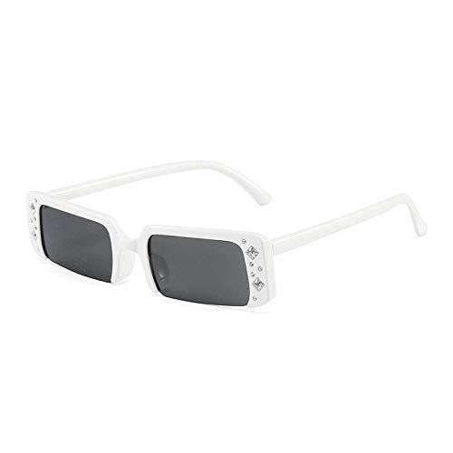 DLSM Moda Pequeño rectángulo Semi-Rimless Sunglass Mujer Diamond Decoration Eyewear Men Shades Shades UV400 Geeignet Für Straßenaufnahmen IM Freien-Gris Blanco