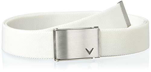 Callaway Herren Gürtel Solid Webbed Belt, Herren, Gürtel, Performance Logo Belt, Hellweiß - Stretch, Einheitsgröße