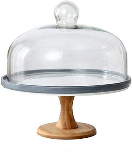 ZXL keramische plaat met deksel, brood biefstuk gemakkelijk te reinigen glas koepel bruiloft koepel display stand keuken stofkap taart staat (kleur: wit, Maat : 28 * 28 * 30.5CM)