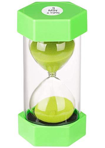 Reloj de Arena, Doble protección, temporizadores de Arena, Asistente de gestión del Tiempo, Regalo Creativo, decoración de la Oficina de la Sala de Estar (3 Minutos, Verde)