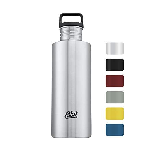 Esbit Trinkflasche Sculptor, Edelstahl, BPA-Frei, Schwarz, Silber & mehr, 0,75L & 1L, Schule, Wasser, Fahrrad, Sport