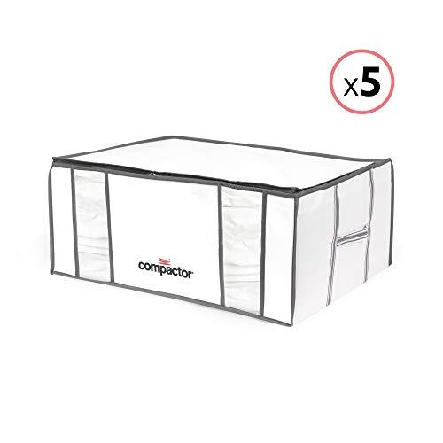 """COMPACTOR Lote de 5 Cajas de Almacenaje Al Vacío, Talla XXL, 210 l, Blanco \""""Life\"""", RAN8821"""