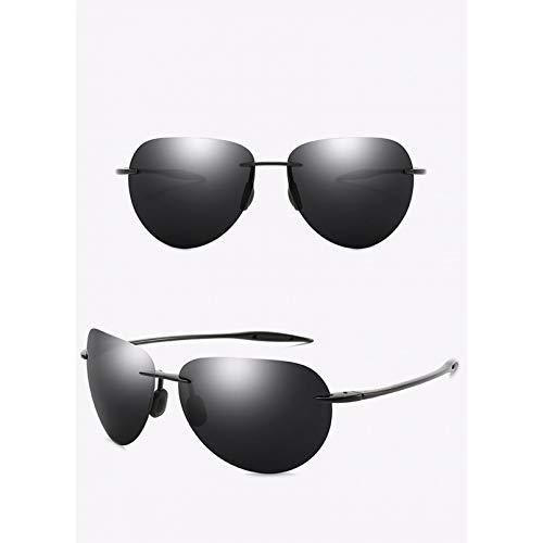 SXRAI Gafas de Sol ultraligeras sin Montura para Hombre, Gafas de Sol para Conducir, protección UV Masculina,C1