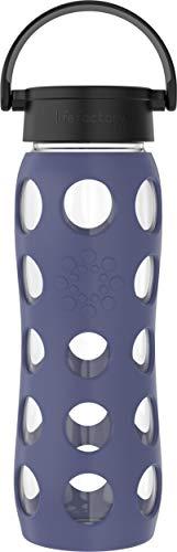 Lifefactory - Botella de cristal con funda protectora de silicona, sin BPA, a prueba de fugas, apta para lavavajillas, 650 ml, color morado