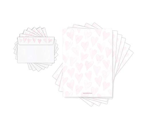 Friendly Fox Briefpapier HERZEN - Briefpapier Set romantisch mit Umschlägen - Motivpapier Herz - 20 Briefbögen + 20 Umschlag - A4 buntes Briefpapier Liebesbriefe